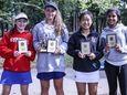 From left, Nassau girls individual tennis finalists Thea