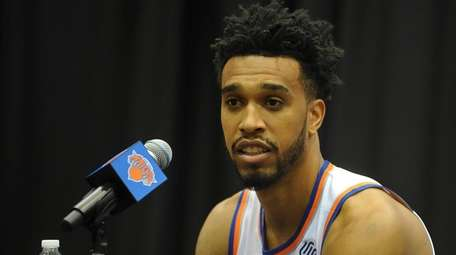 The Knicks' Courtney Lee fields questions during the