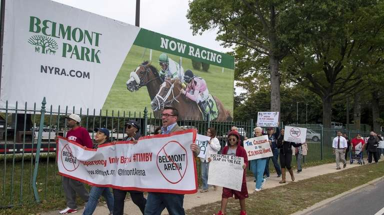 Protesters rally against proposed Belmont Park redevelopment | Newsday