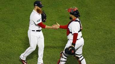 Craig Kimbrel #46 of the Red Sox celebrates