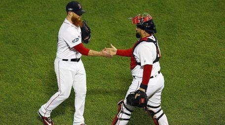 Craig Kimbrel #46 of the Red Sox celebrates