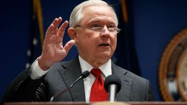 Attorney General Jeff Sessions at a news conference