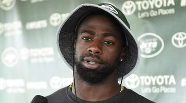 Jets defensive back Marcus Maye speaks to the