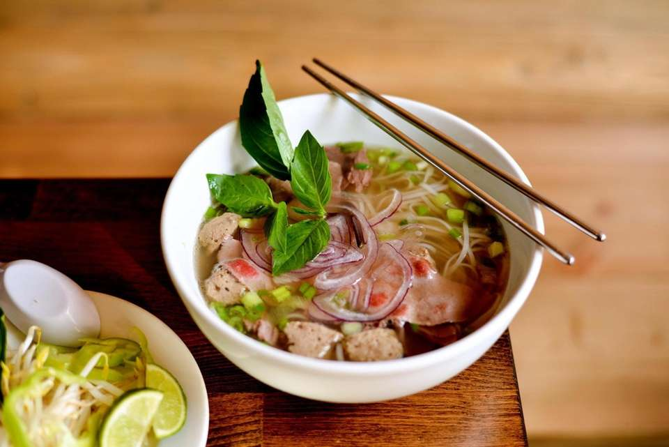 A bowl of Pho Bo, beef Pho with