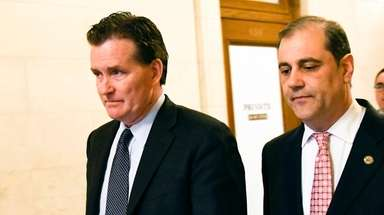 Senate Majority Leader John Flanagan (R-East Northport), left,