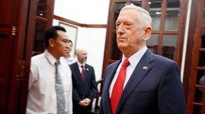 U.S. Defense Secretary Jim Mattis arrives for a