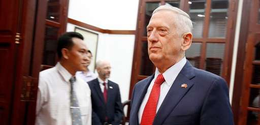 Defense Secretary Jim Mattis arrives for a meeting