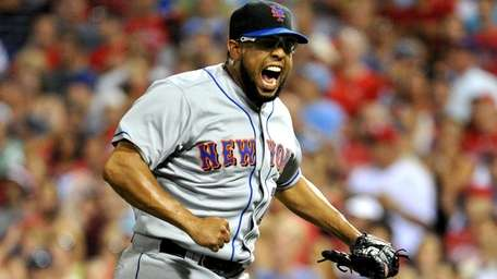 Mets relief pitcher Francisco Rodriguez reacts in the