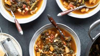 Kale, butternut squash and white beans give this