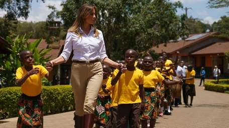 First lady Melania Trump visits an orphanage in