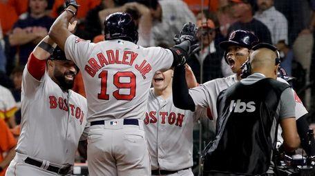 Boston Red Sox's Jackie Bradley Jr. celebrates after