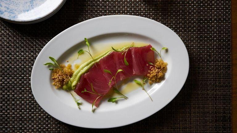 Yellowfin tuna crudo with wasabi avocado mousse, smoked