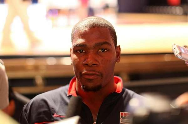 Kevin Durant of USAB is interviewed during the