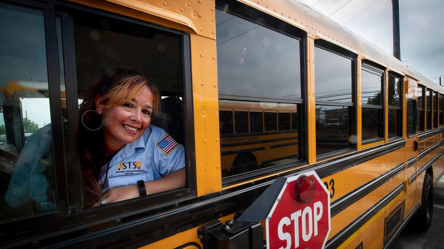 Diana Krygier, seen in Bay Shore onAug. 7, 2018, drives the large buses at Suffolk Transportation.