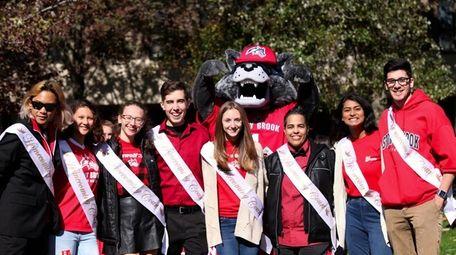 Eight of Stony Brook University's 10 homecoming court