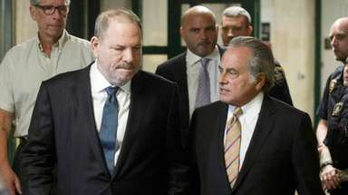 Movie producer Harvey Weinstein, left, who faces sexual