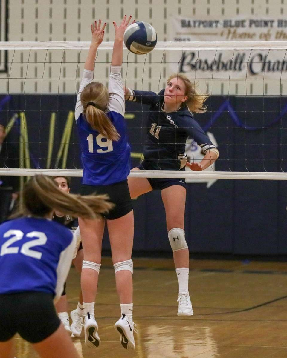 Isabella Imbo #11 of Bayport-Blue Point hits the