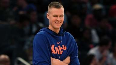 Kristaps Porzingis smiles during Knicks practic at Madison