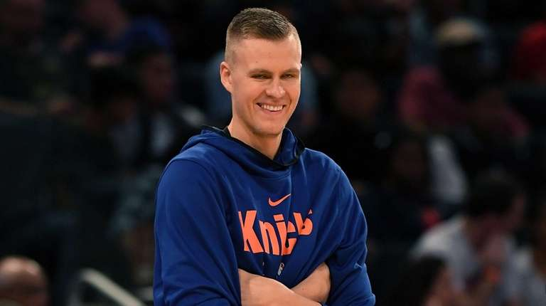 Kristaps Porzingis smiles during Knicks practic at Madison