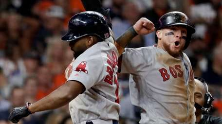 Boston Red Sox's Jackie Bradley Jr., celebrates after