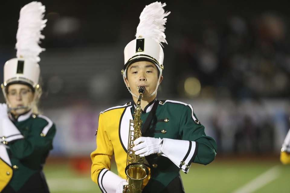 The Three Village Patriot Marching Band performs at