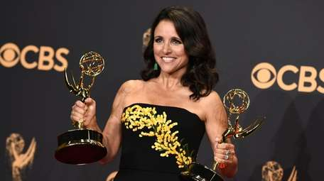 """Julia Louis-Dreyfus with her trophies for """"Veep"""" at"""