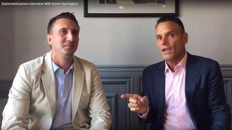 """Former """"shark"""" Kevin Harrington, right, interviews Marc Saulino"""