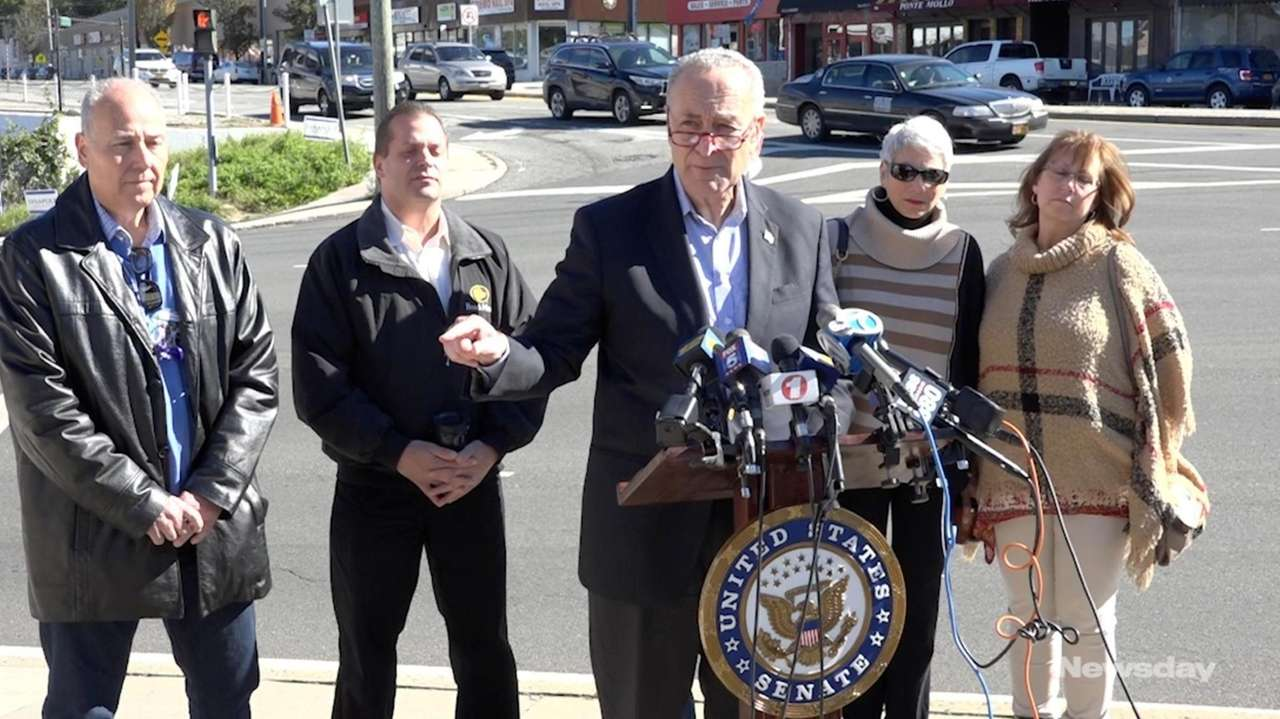 Sen. Chuck Schumer, at a news conference in