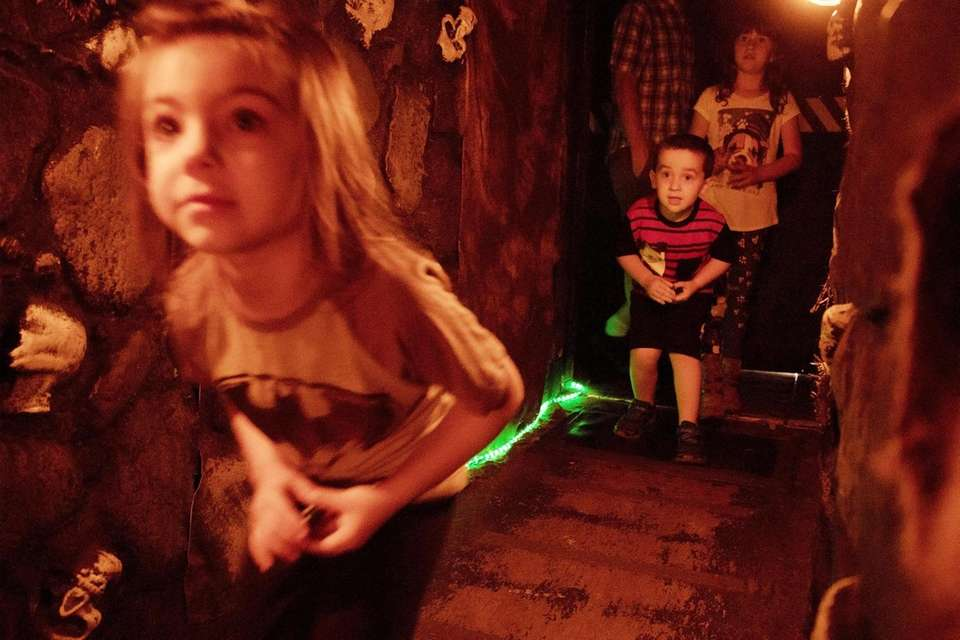 Kayla Schoedel, 4, of Holtsville, explores the Not-So-Scary