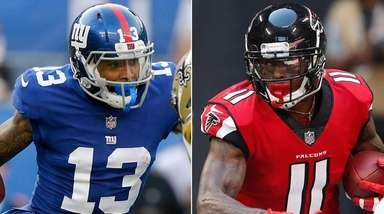 Giants wide receiver Odell Beckham Jr., left, and
