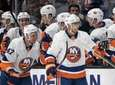 Islanders center Valtteri Filppula, center, celebrates his goal