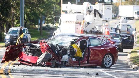 Scene of crash Thursday in Aquebogue.