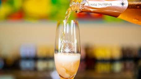 A pour of sparkling wine at at Sparkling