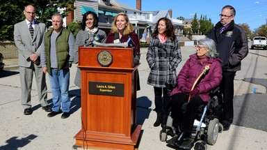 Hempstead Supervisor Laura Gillen on Thursday announces the