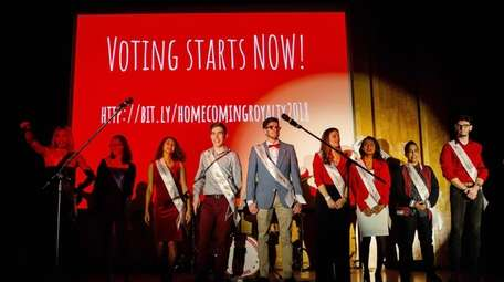 Finalists for Stony Brook University's homecoming court gather