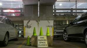 A closed spot at the Hicksville LIRR parking