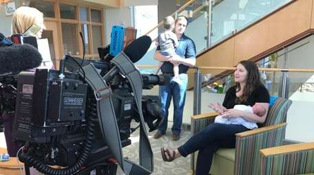Emily Eekhoff talks to a TV station after