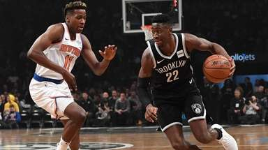 Brooklyn Nets guard Caris LeVert drives the ball