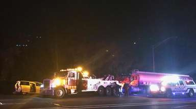 Several vehicles, including an oil tanker, were involved