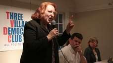 Candidate Kate Browning emphasizes a point during a