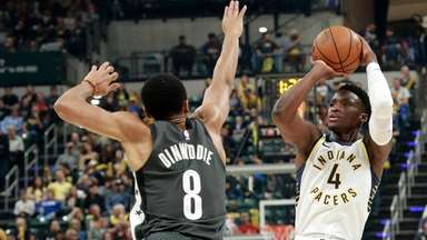 Indiana Pacers guard Victor Oladipo (4) shoots the