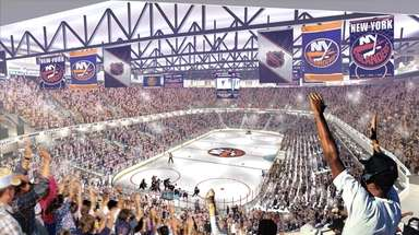 An artist's rendering of a renovated Nassau Coliseum