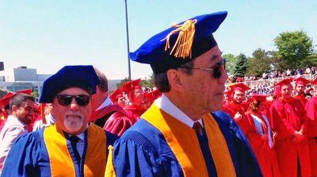Billy Joel, left, and Charles Wang at Stony