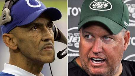 Former Colts coach Tony Dungy and current Jets