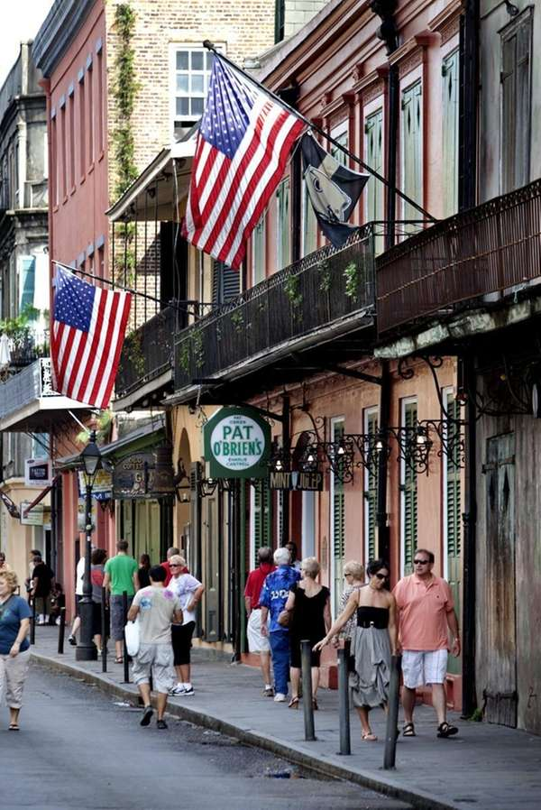 Bourbon Street in the French Quarter is a