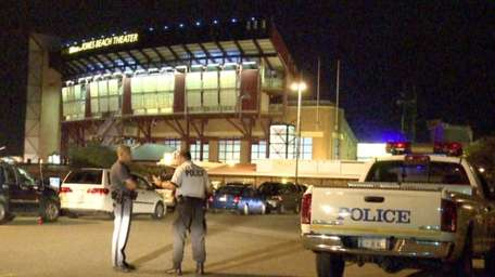 Police outside Jones Beach Theater after a man