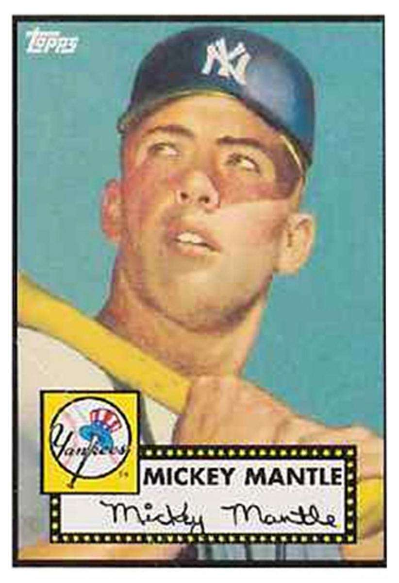 A Topps 1952 Mickey Mantle rookie card.