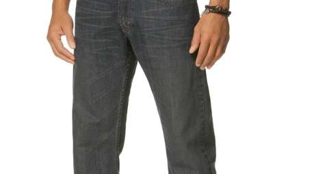 Classic straight leg jeans that break at the