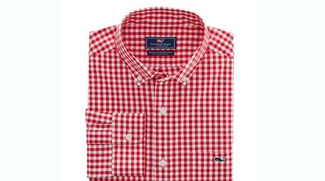 This sporty plaid gingham class stretch shirt, $98.50