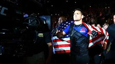 Chris Weidman enters the arena for his match